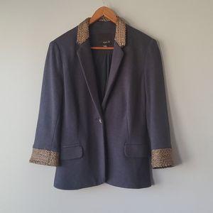 Aryn K Blue Silver Chain Detailed Blazer